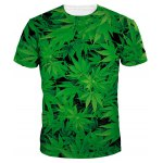 Slim Fit Round Collar Weed T-Shirt For Men