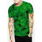 Slim Fit Round Collar Weed T-Shirt For Men deal