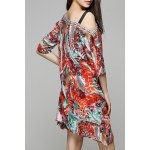 Bohemian Off The Shoulder Feather Print Half Sleeve Dress For Women deal