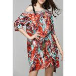 cheap Bohemian Off The Shoulder Feather Print Half Sleeve Dress For Women