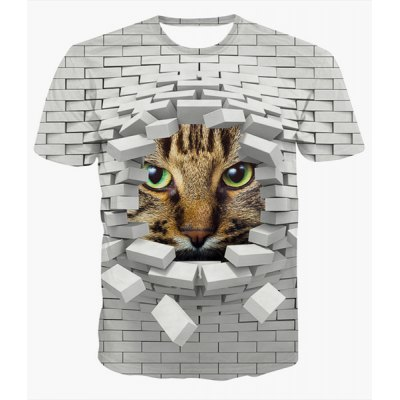 Fashion Pullover Round Collar 3D Wall Printed T-Shirt For Men