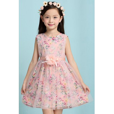 Round Neck Sleeveless Floral Print Princess Dress For Girl