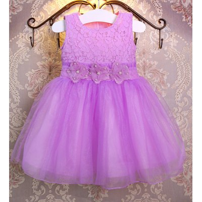 Cute Sleeveless Solid Color Flower Spliced Princess Dress For Girl