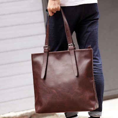 Vintage Solid Colour and PU Leather Design Briefcase For Men
