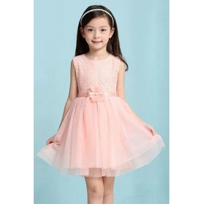 Cute Sleeveless Solid Color Ball Gown Dress For Girl