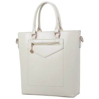 Graceful Solid Colour and PU Leather Design Tote Bag For Women