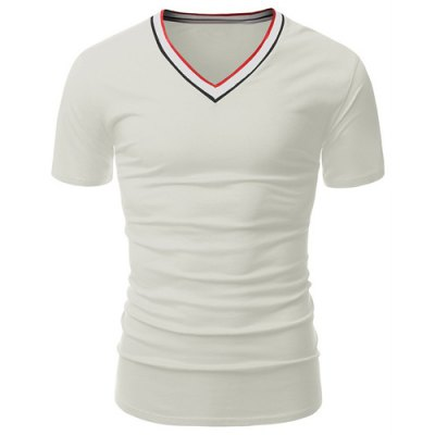 Color Block Rib Spliced V-Neck Short Sleeves T-Shirt For Men