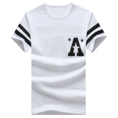 Stripe Star and Letter Printed Round Neck Short Sleeve T-Shirt For Men