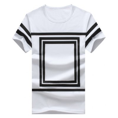 Square Printed Round Neck Short Sleeve T-Shirt For Men