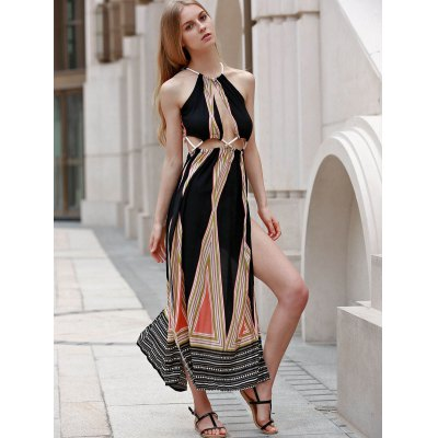 Sleeveless Backless Colored Hollow Out Maxi Braless Dress