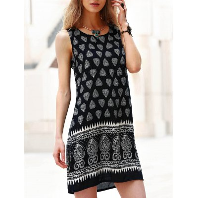 Stylish Scoop Neck Tribal Print Sleeveless Dress For Women