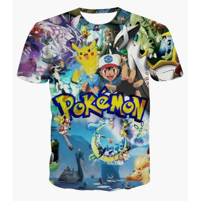Cartoon Printed Pullover Round Collar T-Shirt For Men
