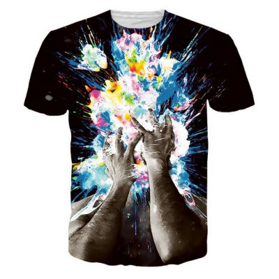 Fashion Round Collar Pullover Hands Printed T-Shirt For Men