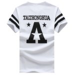 cheap Stripe Star and Letter Printed Round Neck Short Sleeve T-Shirt For Men