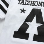 Stripe Star and Letter Printed Round Neck Short Sleeve T-Shirt For Men for sale