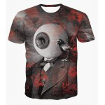 Fashion Pullover Round Collar Eyeball Printed T-Shirt For Men