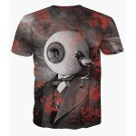 cheap Fashion Pullover Round Collar Eyeball Printed T-Shirt For Men