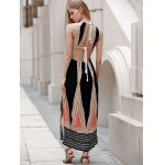 best Sleeveless Backless Colored Hollow Out Maxi Braless Dress