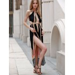 Sleeveless Backless Colored Hollow Out Maxi Braless Dress for sale