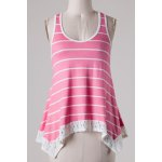 cheap Chic Scoop Neck Sleeveless Striped Bowknot Design Women's Tank Top