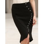 Anchor Printed Button Design High Waist Bodycon Skirt