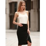 cheap Anchor Printed Button Design High Waist Bodycon Skirt
