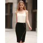Anchor Printed Button Design High Waist Bodycon Skirt deal
