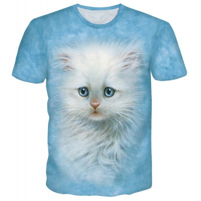 3D Cute Cat Print Round Neck Short Sleeves T-Shirt For Men