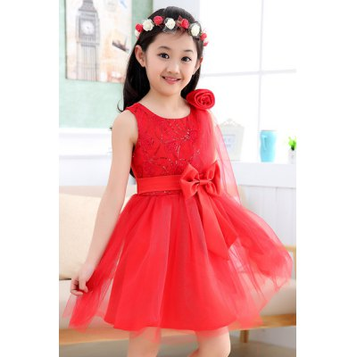 Fashionable Sleeveless Bowknot Design Flower Embellished Dress For Girl от GearBest.com INT