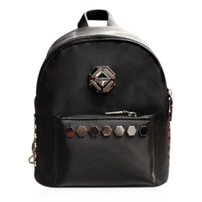 Trendy Solid Colour and Metal Design Backpack For Women