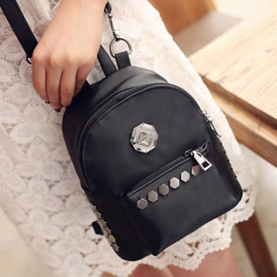 Trendy Solid Colour and Metal Design Backpack For WomenWomens Bags<br>Trendy Solid Colour and Metal Design Backpack For Women<br><br>Handbag Type: Backpack<br>Style: Fashion<br>Gender: For Women<br>Pattern Type: Solid<br>Handbag Size: Small(20-30cm)<br>Closure Type: Zipper<br>Interior: Cell Phone Pocket<br>Occasion: Versatile<br>Main Material: PU<br>Hardness: Soft<br>Weight: 1.200kg<br>Size(CM)(L*W*H): 19*10*18<br>Strap Length: Short:5CM, Long:60-112CM (Adjustable)<br>Package Contents: 1 x Backpack