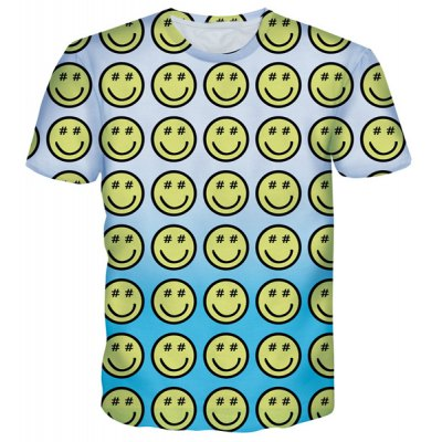 Cartoon Smile Emoticon Print Round Neck Short Sleeves T-Shirt For Men