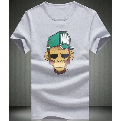 Monkey Cartoon Printed Round Neck Short Sleeve T-Shirt For Men