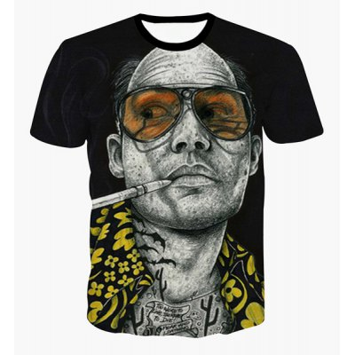 Pullover Round Collar Bald Man Printed T-Shirt For Men