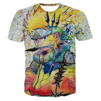 Pullover Round Collar Painting Cartoon T-Shirt For Men