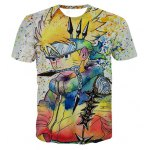Fashion Round Collar Pullover Painting Cartoon T-Shirt For Men