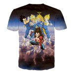 3D Cartoon Dragonball Figure Print Round Neck Short Sleeves T-Shirt For Men for sale