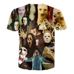 cheap Hot Sale Round Neck 3D Mask People Short Sleeves T-Shirt For Men