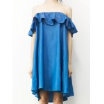 Stylish Off The Shoulder Flounce Denim Dress For Women