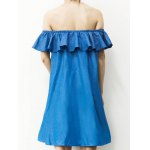 Stylish Off The Shoulder Flounce Denim Dress For Women deal