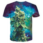 cheap Round Neck 3D Starry Sky Grass Print Short Sleeves T-Shirt For Men