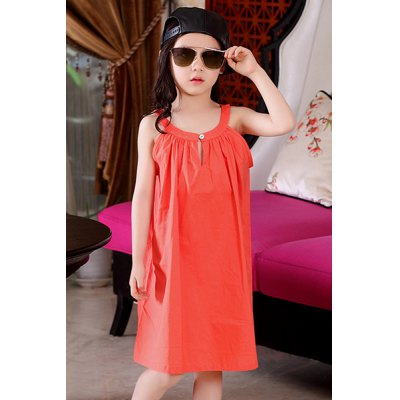Sleeveless Solid Color Loose-Fitting Summer Dress For Girl