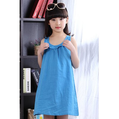 Cute Solid Color Loose-Fitting Sleeveless Summer Dress For Girl