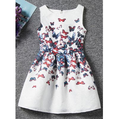 Cute Sleeveless Butterfly Print Dress For Girl