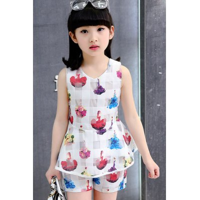 Stylish Figure Print Scoop Neck Tank Top + Shorts Girl's Twinset