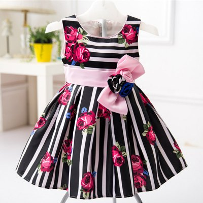 Sweet Sleeveless Floral Print Striped Bowknot Dress
