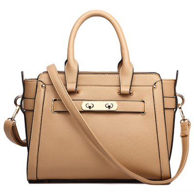 Elegant PU Leather and Solid Colour Design Tote Bag For Women