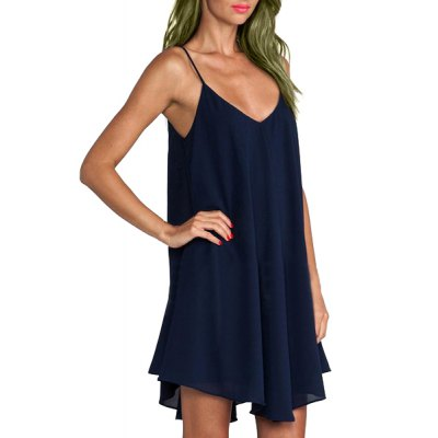 Casual Style Spaghetti Strap Sleeveless Solid Color Chiffon Dress For Women