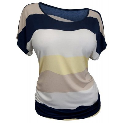 Casual Round Neck Striped Plus Size T-Shirt