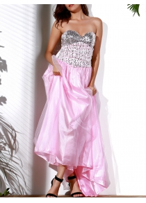 Sexy Strapless Sleeveless Sequined Lace-Up Women's Dress